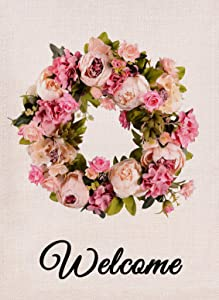 Furiaz Welcome Flower Wreath Garden Flag, Fall Peony House Yard Lawn Outdoor Decorative Flag Pink Floral, Rustic Burlap Autumn Farmhouse Outside Decoration Garland Home Decor Flag 12 x 18 Double Sided