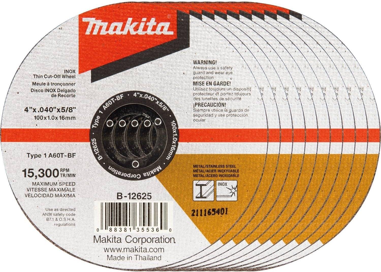 Makita B-12625-10 4 x .040 x 5//8 INOX Thin Cut-Off Wheel 10//Pk