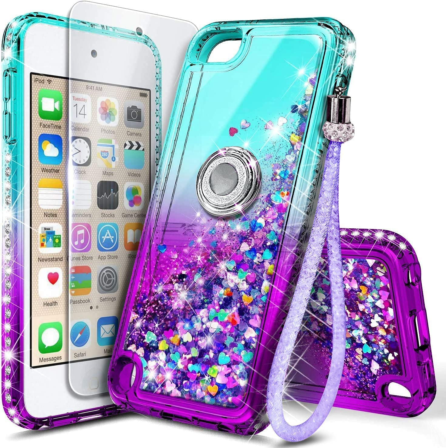 NGB iPod Touch 7 Case, iPod Touch 6/5 Case with Tempered Glass Screen Protector and Ring Holder for Girls Women Kids, Glitter Liquid Cute Case for Apple iPod Touch 7th/6th/5th Generation (Aqua/Purple)