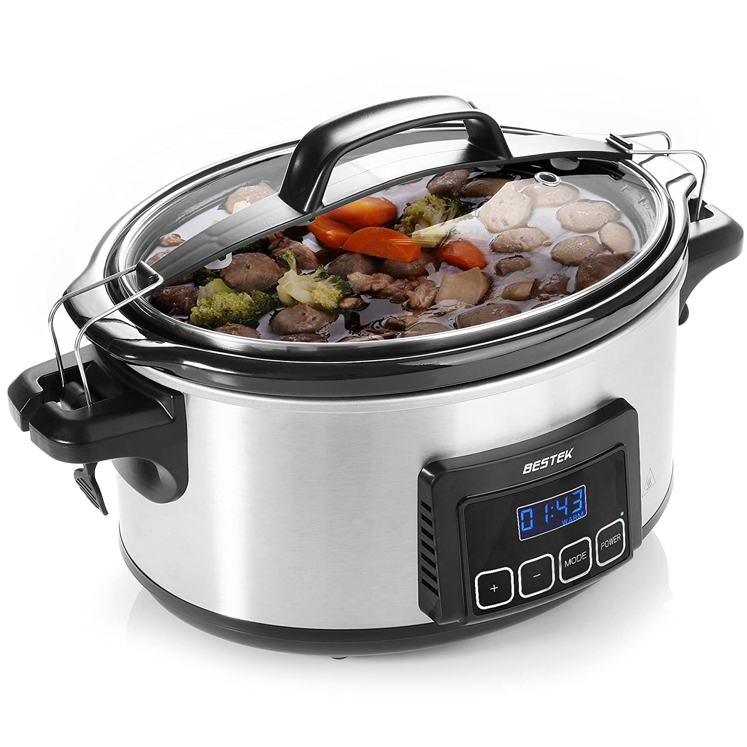 Slow Cooker, BESTEK 6 Quart Slow Cookers Programmable Digital Timer, Oval Pot with Latch Lock Lid and Stainless Steel Finish