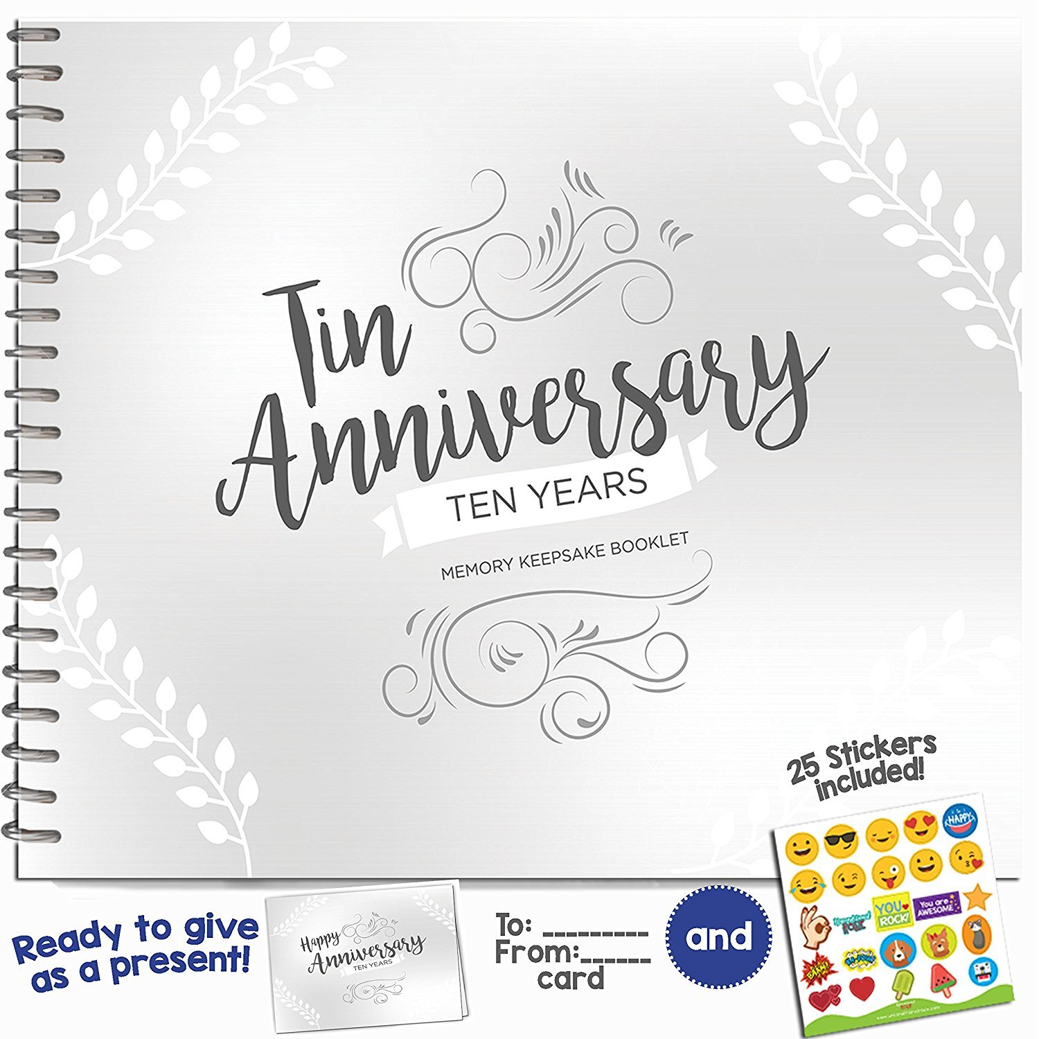 Unique 10th Wedding Anniversary Memory Book with Stickers and A Matching Card - 5-Second Memory Journal For Your Special Tin Anniversary - The Perfect Keepsake Booklet for Special Memories