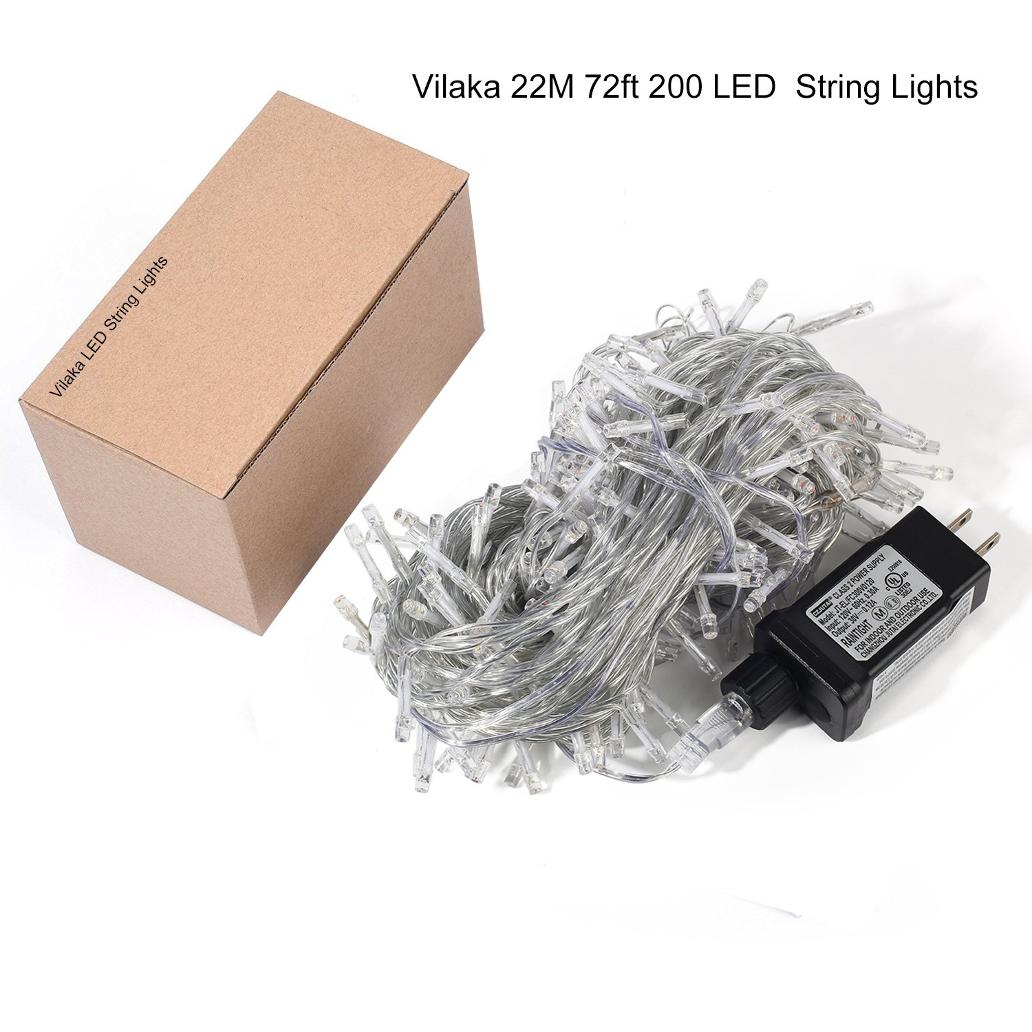 Christmas String Lights 22M/72ft 200 LEDs Indoor String Lights with 8 Flash Changing Modes, 29V Safety Outdoor Waterproof Plug-in Fairy Twinkle Lights for Halloween/Garden/Party/Festive (Multi Color) by Vilaka (Image #7)