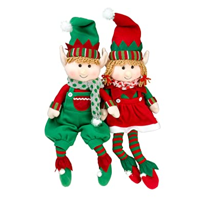 "SCS Direct Elf Plush Christmas Stuffed Toys- 12"" Boy and Girl Elves (Set of 2) Holiday Plush Characters: Toys & Games"
