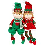 "Elf Plush Christmas Stuffed Toys- 12"" Boy and Girl Elves (Set of 2) Holiday Plush Characters"