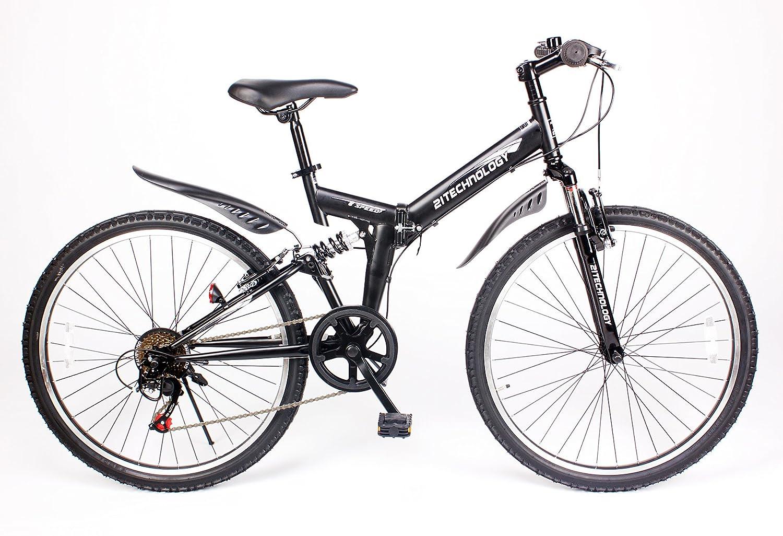 21Technology【MTB266】折りたたみ マウンテンバイク 26インチ シマノ製6段変速ギア付き B00MNAUCVMマットブラック