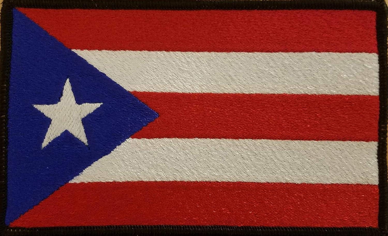 Parche bordado de la bandera de Puerto RICO con velcro, con cierre de velcro, gancho trasero y bucle, para motociclista, moral, táctico, boricua, 5 x 3, emblema de Puerto Rico, borde negro #