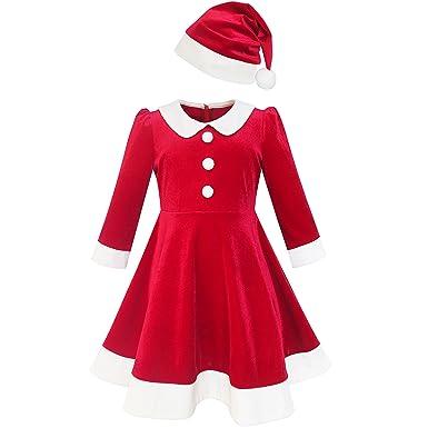 56868483fc361 Sunny Fashion Robe Fille Noël Chapeau Rouge Velours Longue Manche Vacances  10 Ans