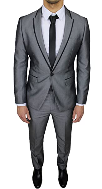 Abito Matrimonio Uomo Grigio : Abito completo uomo sartoriale grigio nero gessato elegante