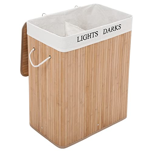 Songmics XXL 100 L Bamboo Laundry Basket Box Storage Box with 2 sections for Lights & Darks Clothes LCB64Y