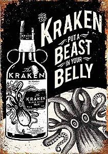 NGFD Kraken Rum Tattoo Drink Vintage Tin Sign Metal Decor Metal Sign Wall Metal Tin Sign 8X12 Inches