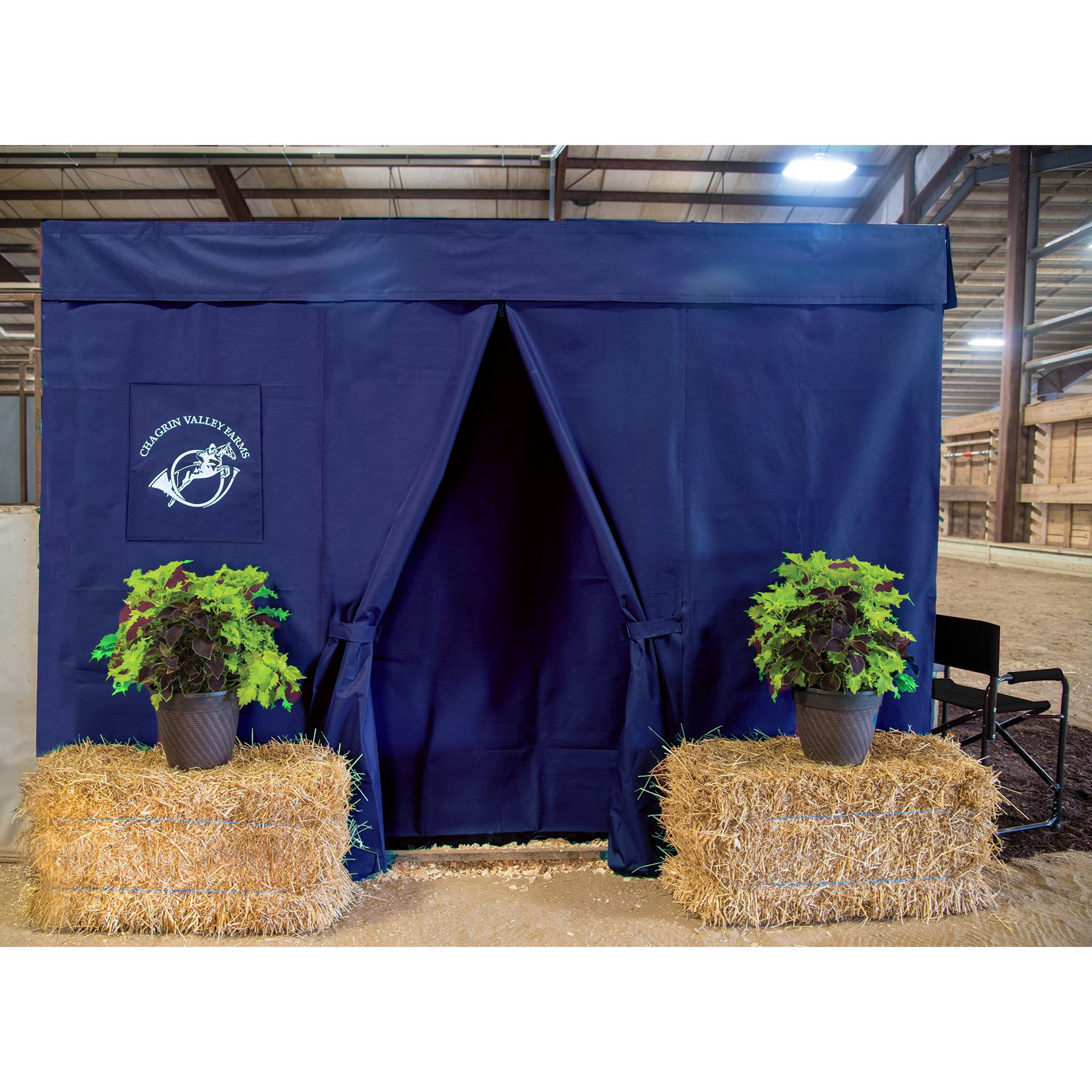 Dura-Tech Six Piece Horse Stall Front Drape Package, Heavy Duty Show Stall, Professional Appearance with Easy Set-Up and Flexible Entry Placement (Navy) by Dura-Tech
