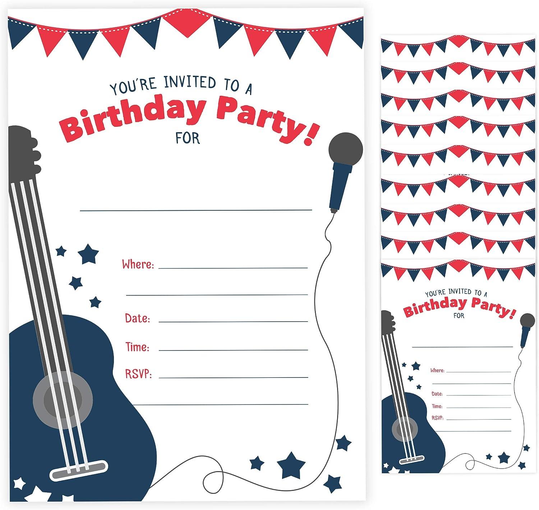 Invitaciones de cumpleaños estilo guitarra 1 (10 unidades) con ...