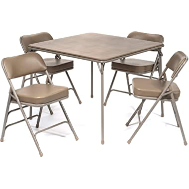 5pc. XL Series Folding Card Table and 2 in. Ultra Padded Chair Set, Commercial Quality, Beige