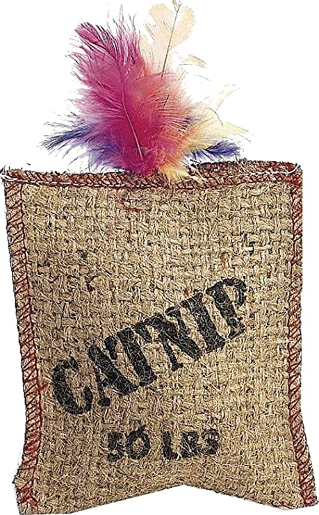 ETHICAL SPOT CATNIP SACK BURLAP WITH FEATHER 1 PACK KITTEN CAT TOY.FREE SHIP USA
