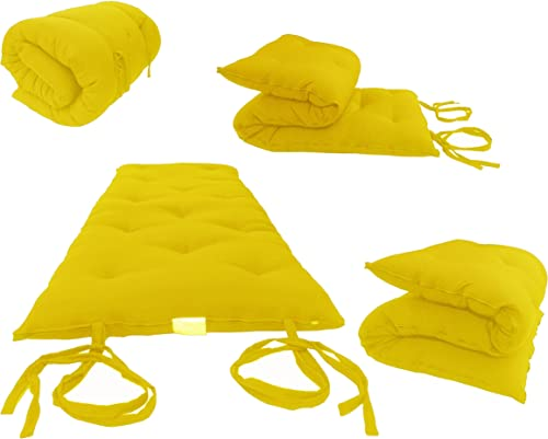 Queen Size Yellow Traditional Japanese Floor Futon Mattresses, Foldable Cushion Mats, Yoga, Meditaion 60 Wide X 80 Long