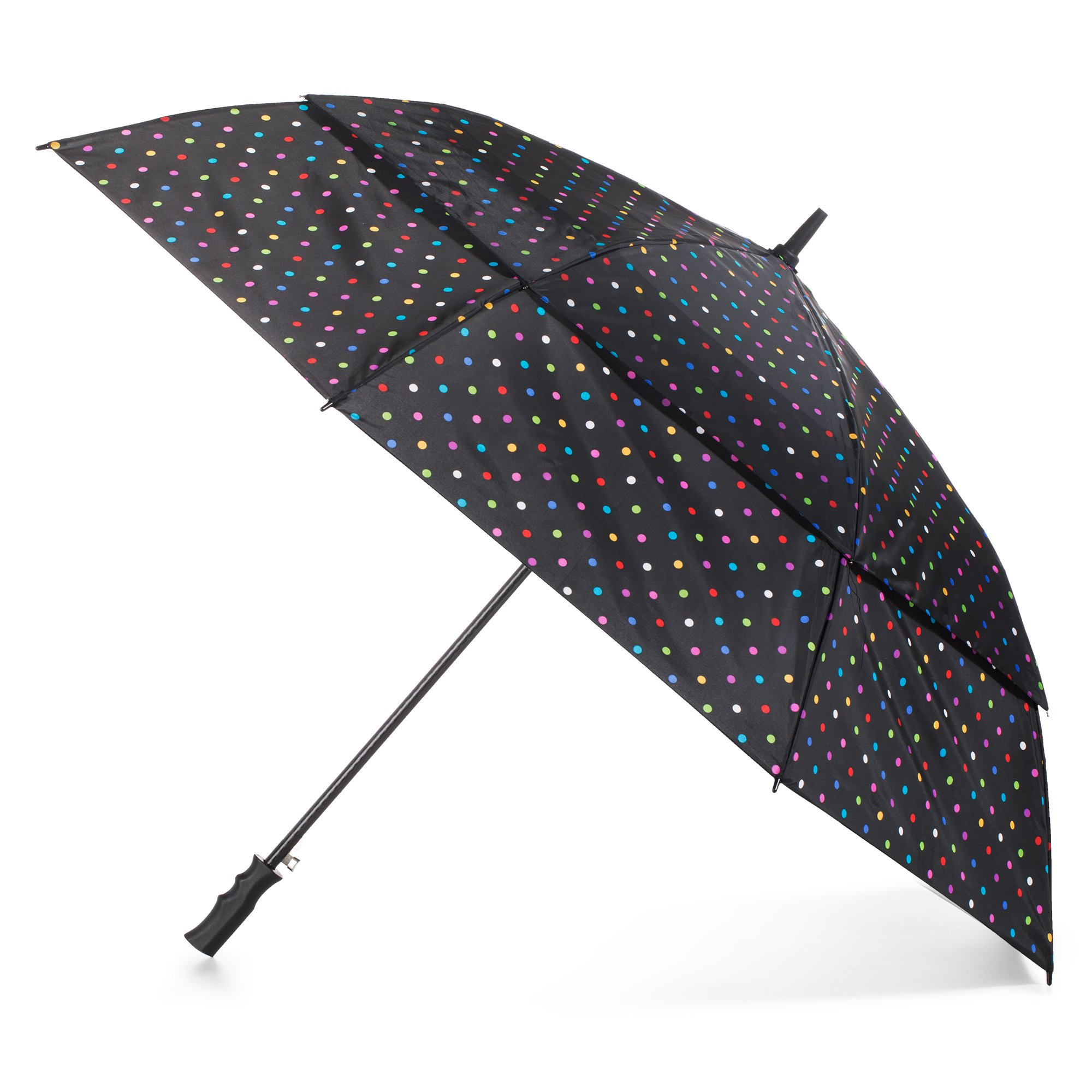 Totes Automatic Open Windproof & Water-Resistant Golf Umbrella, Bright Dots by totes
