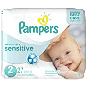 Pampers Swaddlers Sensitive Disposable Diapers Size 2, 27 Count, JUMBO