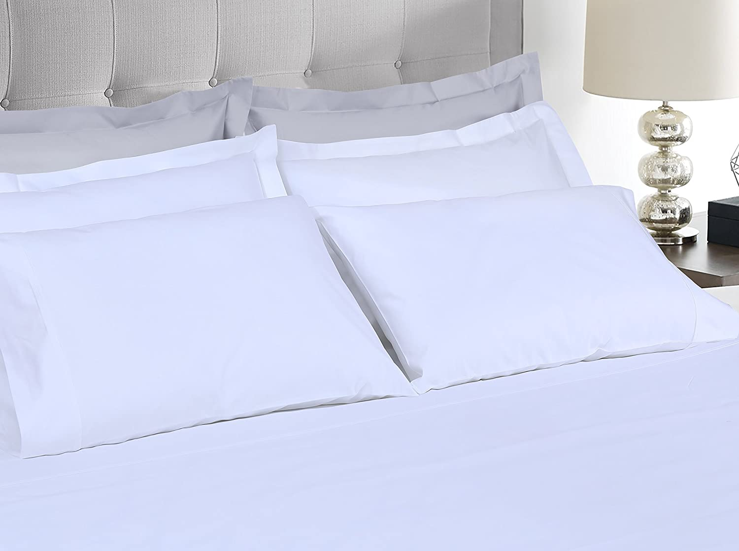 Threadmill Home Linen 1200 Thread Count 100% SUPIMA ELS cotton sheets, Super Luxury bedding, 4 piece King bed sheet set, Fits Mattresses up to 18 inches deep, White, Smooth Sateen Weave.