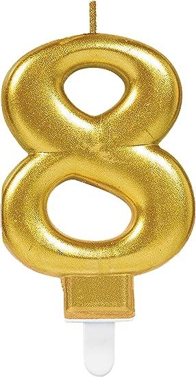 Carpeta Zahlenkerze Zahl 8 In Gold Mit Steckfuß Ca 10cm X 6cm Groß Deko Goldene Hochzeit Jubiläum Geburtstagskerze Kerze Geburtstag