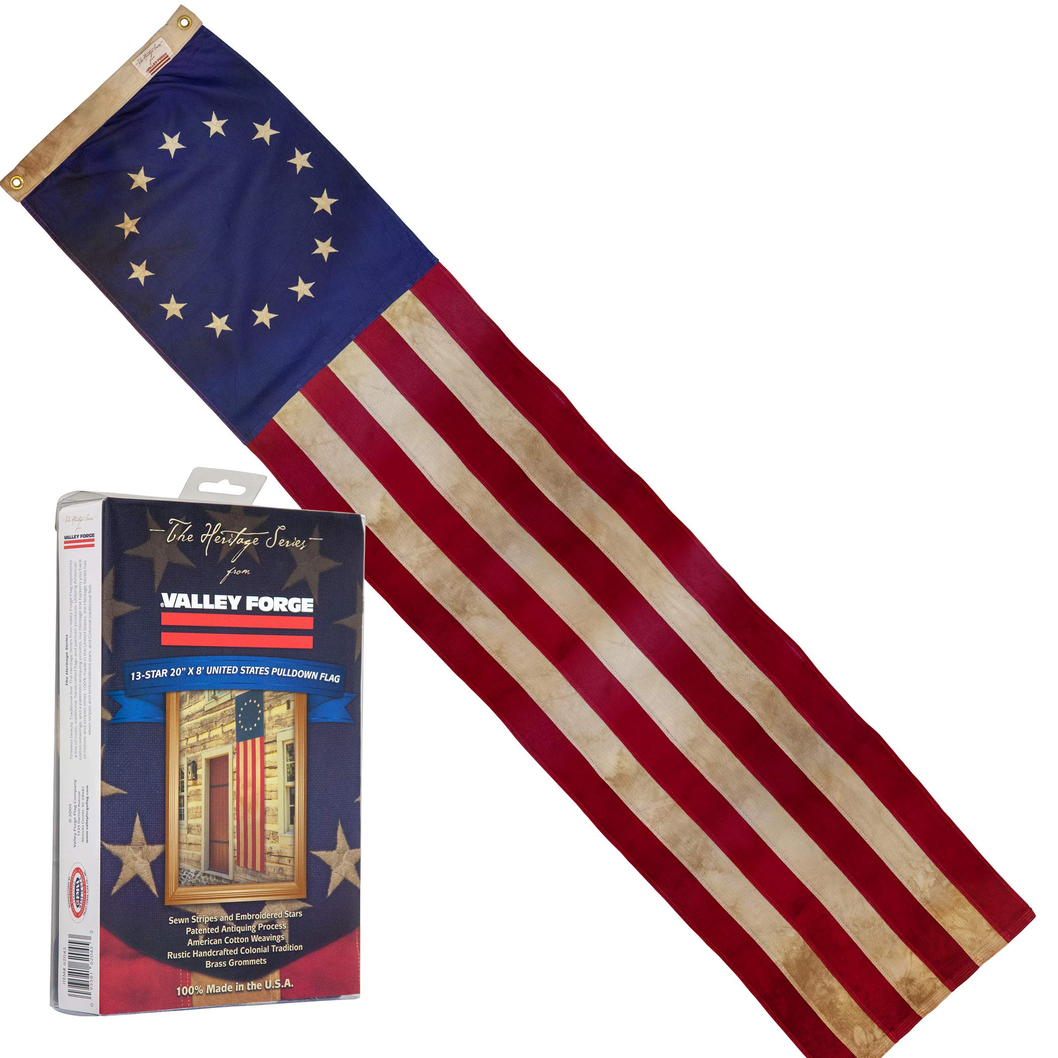 Valley Forge, American Flag Pull-Down, 8', 100% Made in USA, Sewn Stripes and Embroirdered Stars by Valley Forge