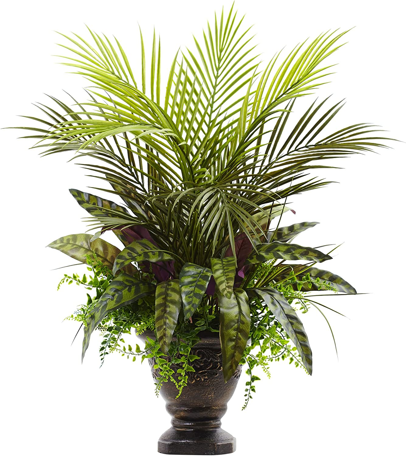 "Nearly Natural 6828 Mixed Areca Palm, Fern & Peacock with Planter, 27"",Green"