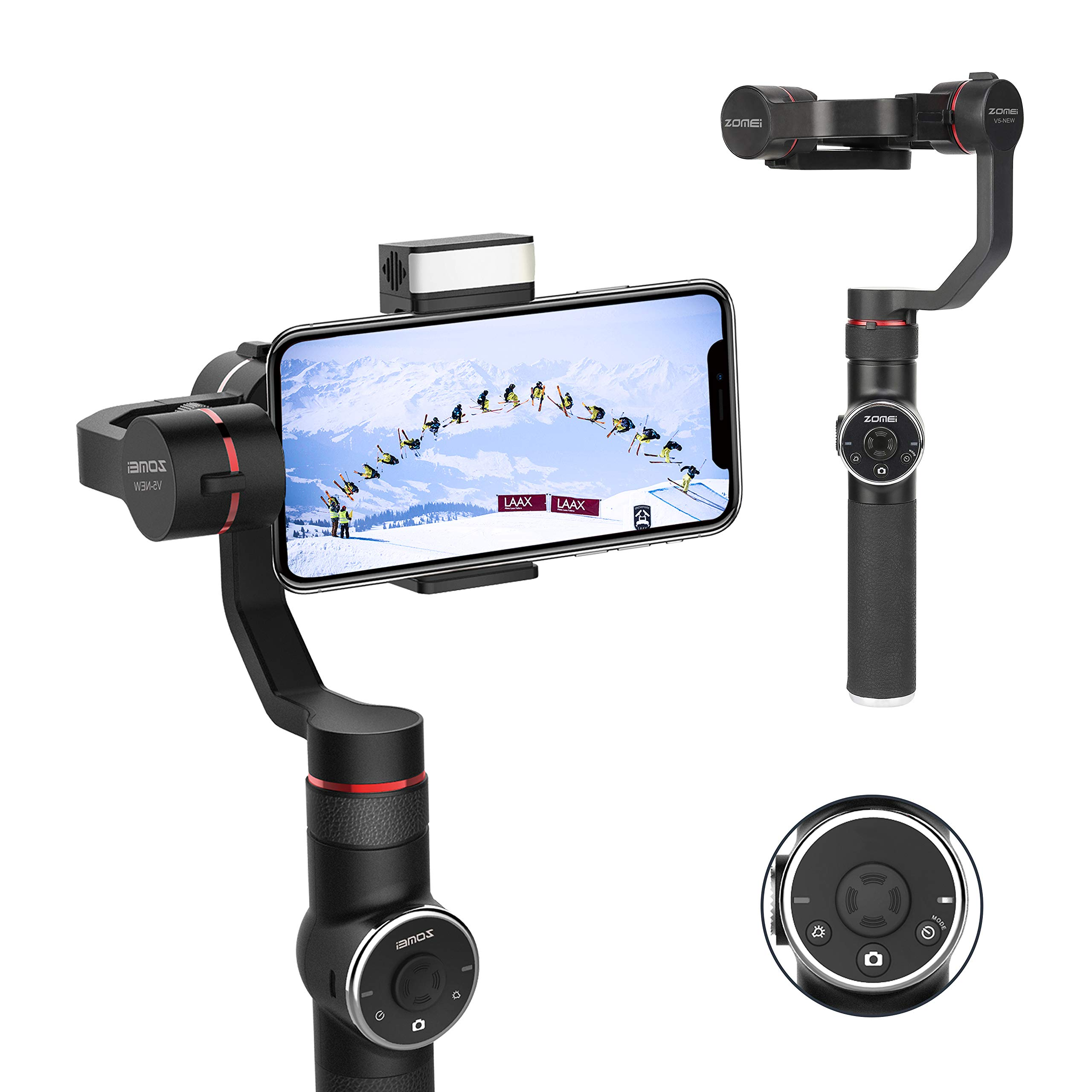 ZOMEI Gimbal Stabilizer Mobile 3 Axis Handheld Gimbals for Smartphone, w/Focus Pull & Zoom for iPhone XR/XS/X/8/7/6 P, Android Samsung S8 S7 Huawei P20 Pro Mate 10, with Time Lapse, Auto Tracking