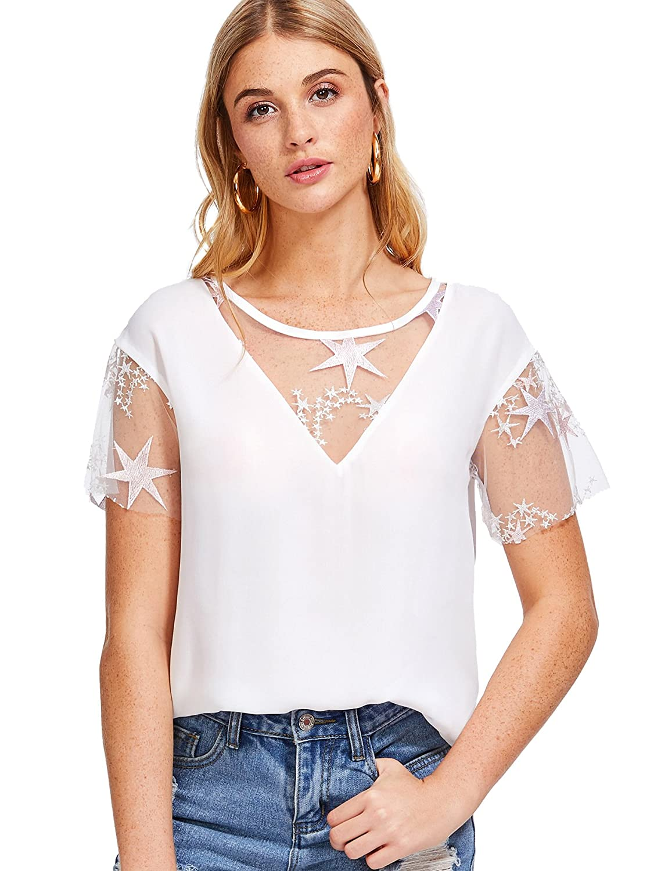 Romwe Women's Casual Summer Contrast Lace Tshirt Cute Sweet Blouse Top