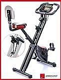 Sportstech X100 Cyclette da Casa F-Bike con Sistema Brevettato di Resistenza a fascia Inerzia 4 KG schienale Supporto per Tablet infinita variazione a doppio freno magnetico sensori palmari pieghevole