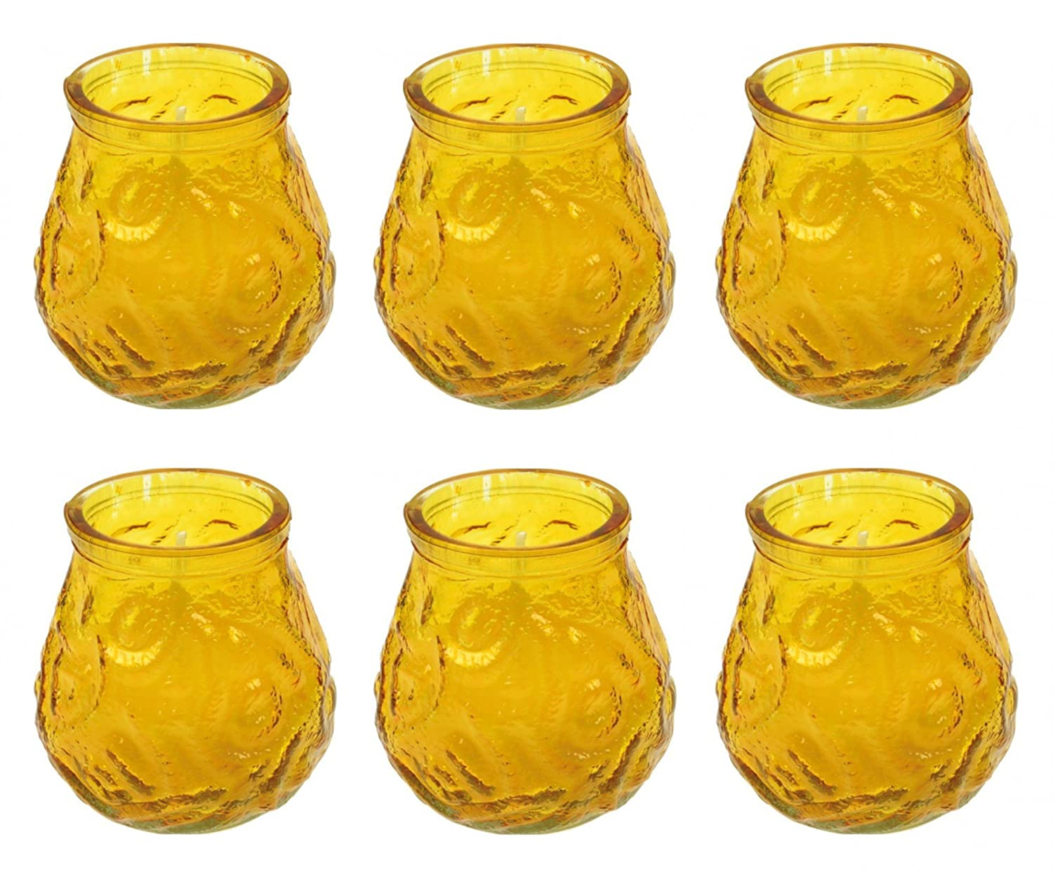 EuroDiscount Citronella Tea Light Holder Glass Garden Party Anti Mosquitoes Candles Pack of 6