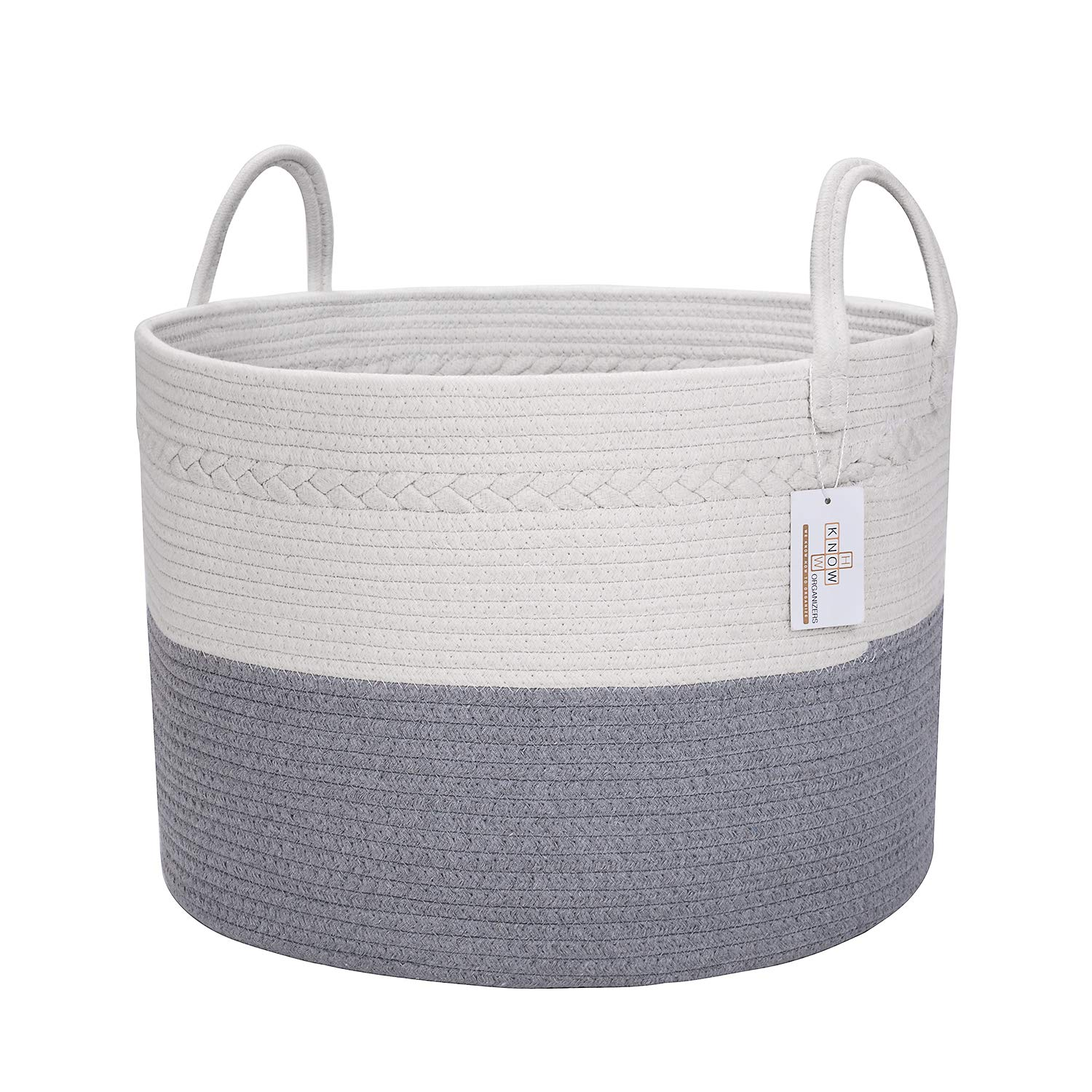 Large Cotton Rope Laundry Basket - Baby Laundry, Woven Laundry Basket, Dog Toy Basket, XXL Blanket Basket, Long Handles, Decorative Nursery Hamper | Grey White 20'' x 13'' Wide Extra Large