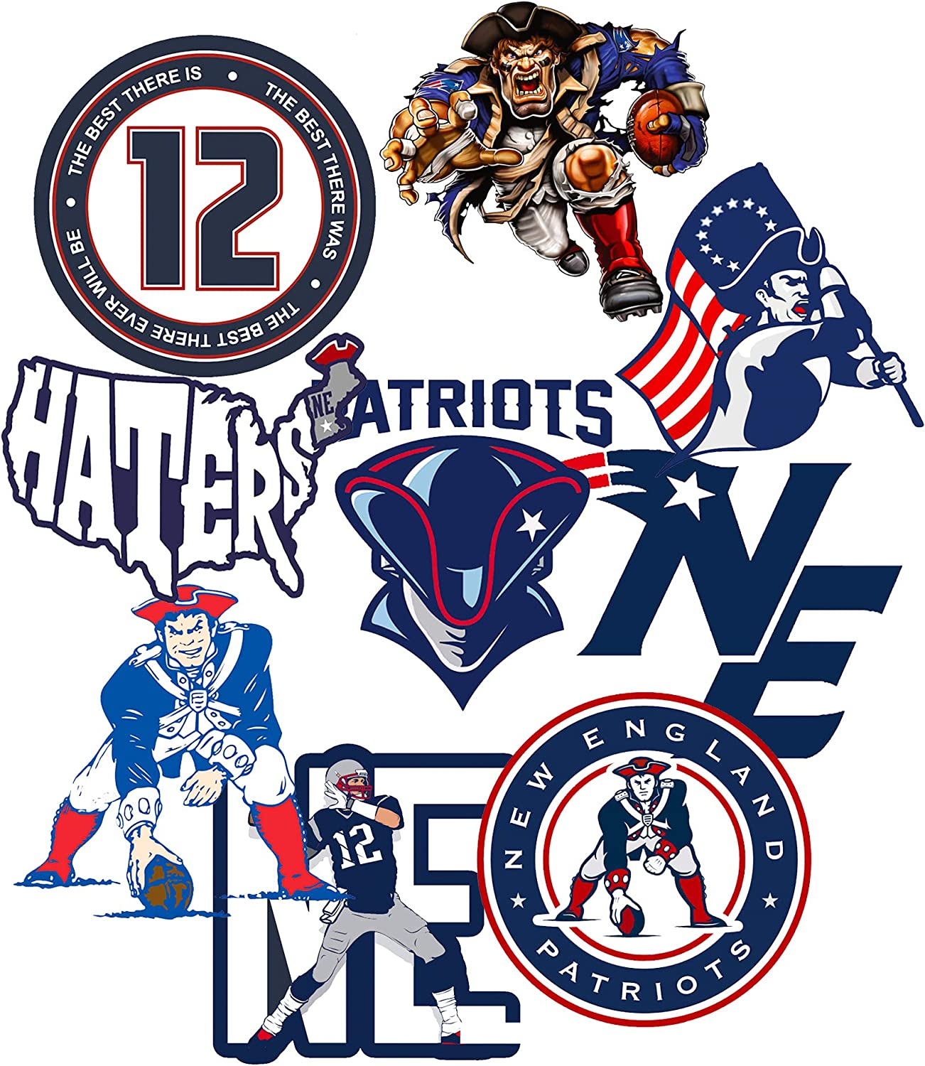 GTOTd Stickers for Patriots 10Pcs.Gifts Patriot Stickers Decal Vinyl Waterproof Stickers Skateboard Guitar Travel Case Sticker Door Laptop Luggage Car Bike Stickers