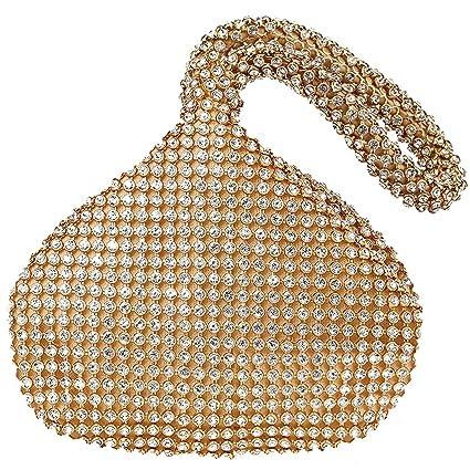 Bolsos de Noche Mini Bolso Brillante Bolsa de Cristal con Purpurina Bolso de Mano en Forma de muñeca Bolso de Noche Bolso Monedero (Dorado)