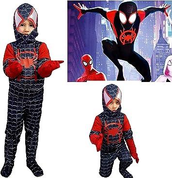 pequeños monelli traje Spiderman Negro Niño Un Nuevo Universo ...