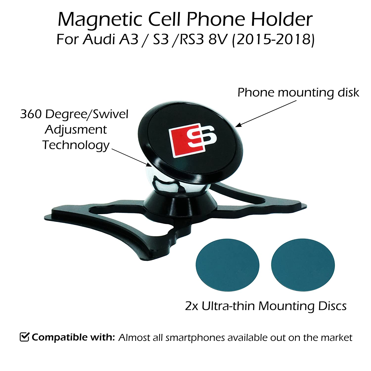 2015-2018 Audi A3 // S3 // RS3 8V Silver Magnetic Cell Phone Holder//Mount