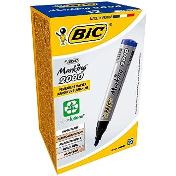 BIC 2000 - Marcador permanente (Azul), 12 unidades: Amazon.es: Oficina y papelería