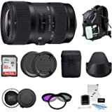 Sigma 18-35mm F1.8 Art DC HSM Lens for CANON DSLR Cameras (210101) With USB Dock + 32GB SD CARD & Advanced Photo & Travel Bundle,