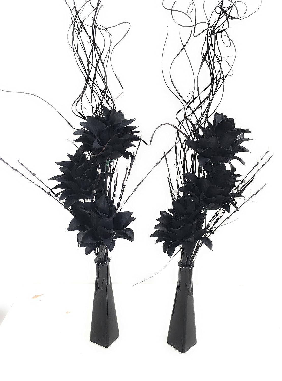 Set di 2vasi in vetro con fiori artificiali nero & erba bianco e perline perfetto per tavoli nuziali link products