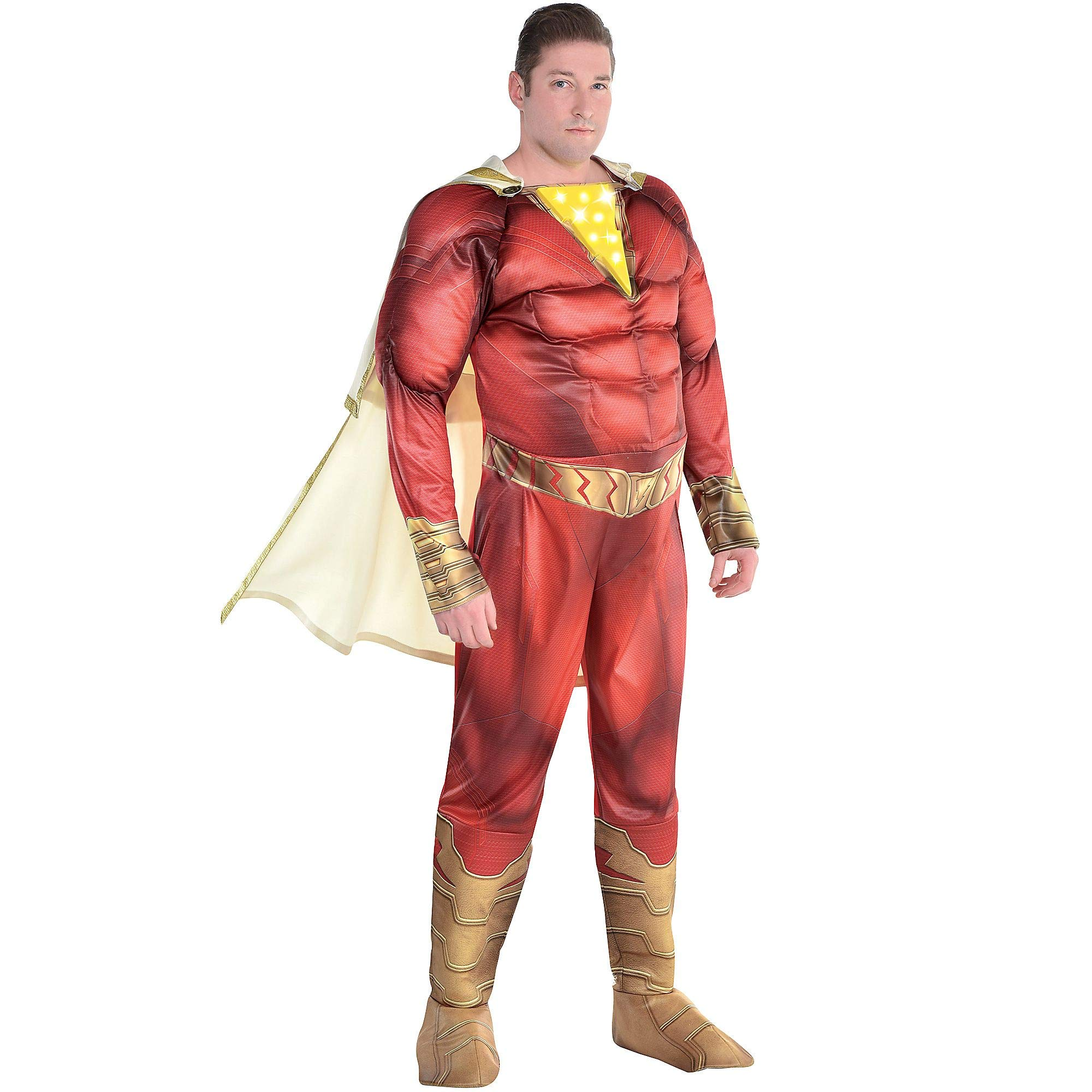 Party City Light,Up Shazam Halloween Muscle Costume for Men, Plus Size,  Includes Hooded Cape