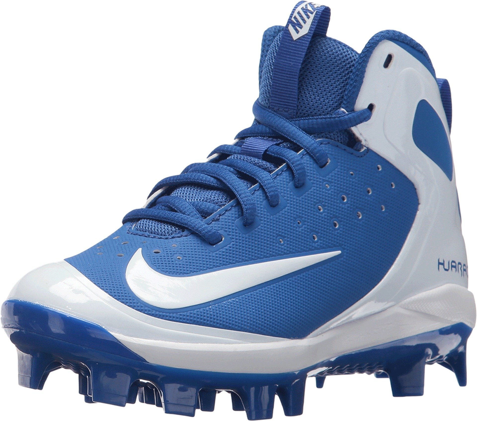 Nike Kids Alpha Huarache Pro Mid MCS Baseball Cleats; Blue/White (5.5Y M) by Nike