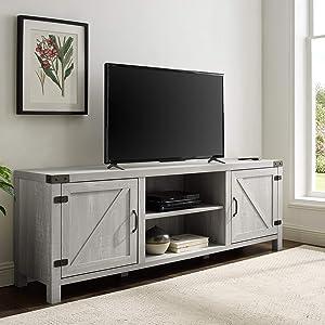 "WE Furniture AZ70BDSDST TV Stand, 70"", Stone Grey"