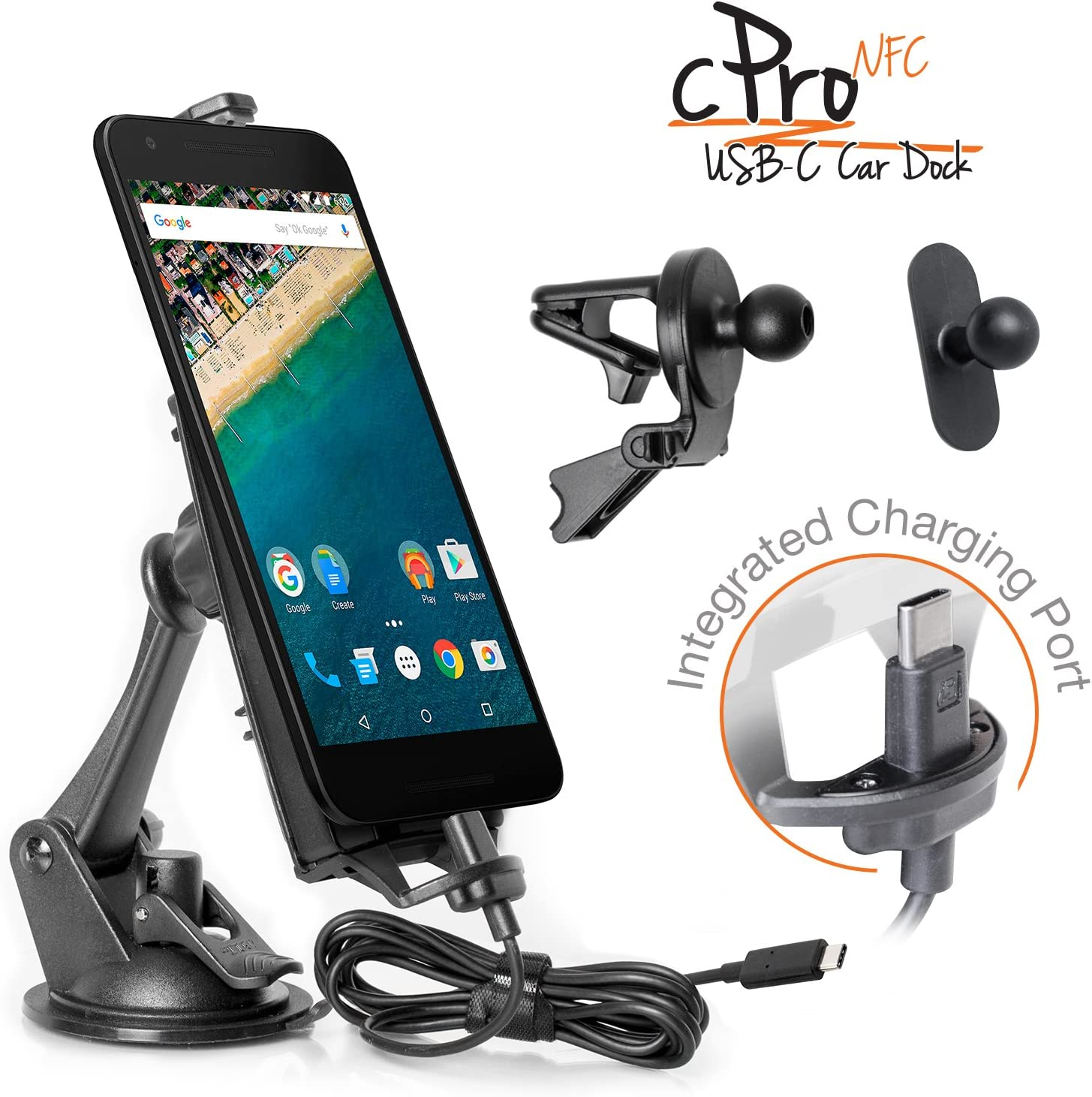 iBOLT cPro NFC - Soporte combo para coche con USB tipo C a USB ...