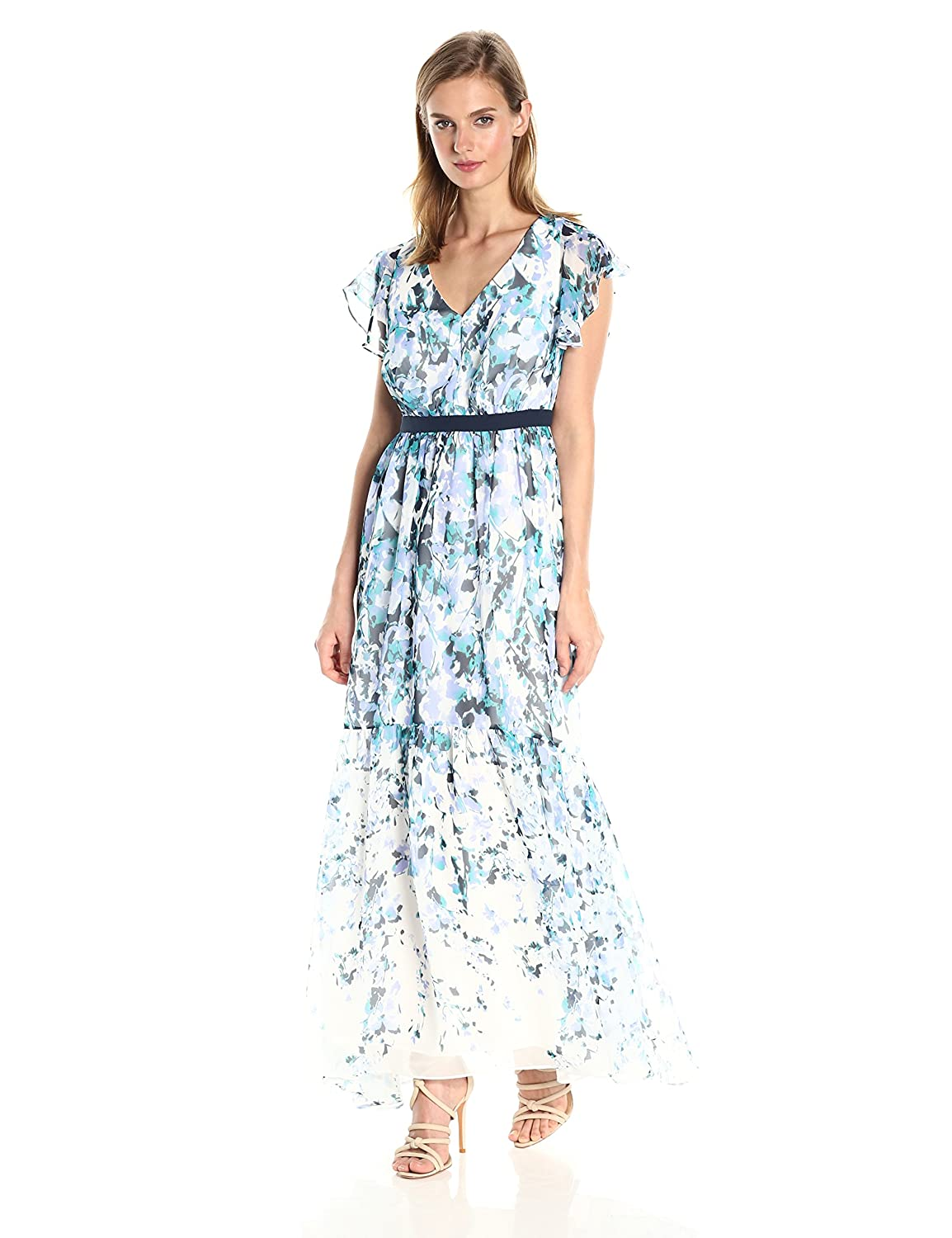 c3a98fcc7 Watercolor Floral Chiffon Maxi Dress With Flutter Sleeves - raveitsafe