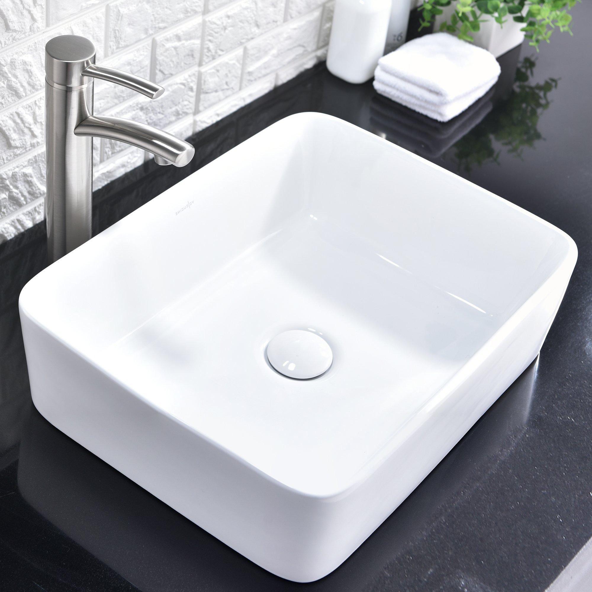 Comllen Above Counter White Porcelain Ceramic Bathroom Vessel Sink Art Basin by Comllen