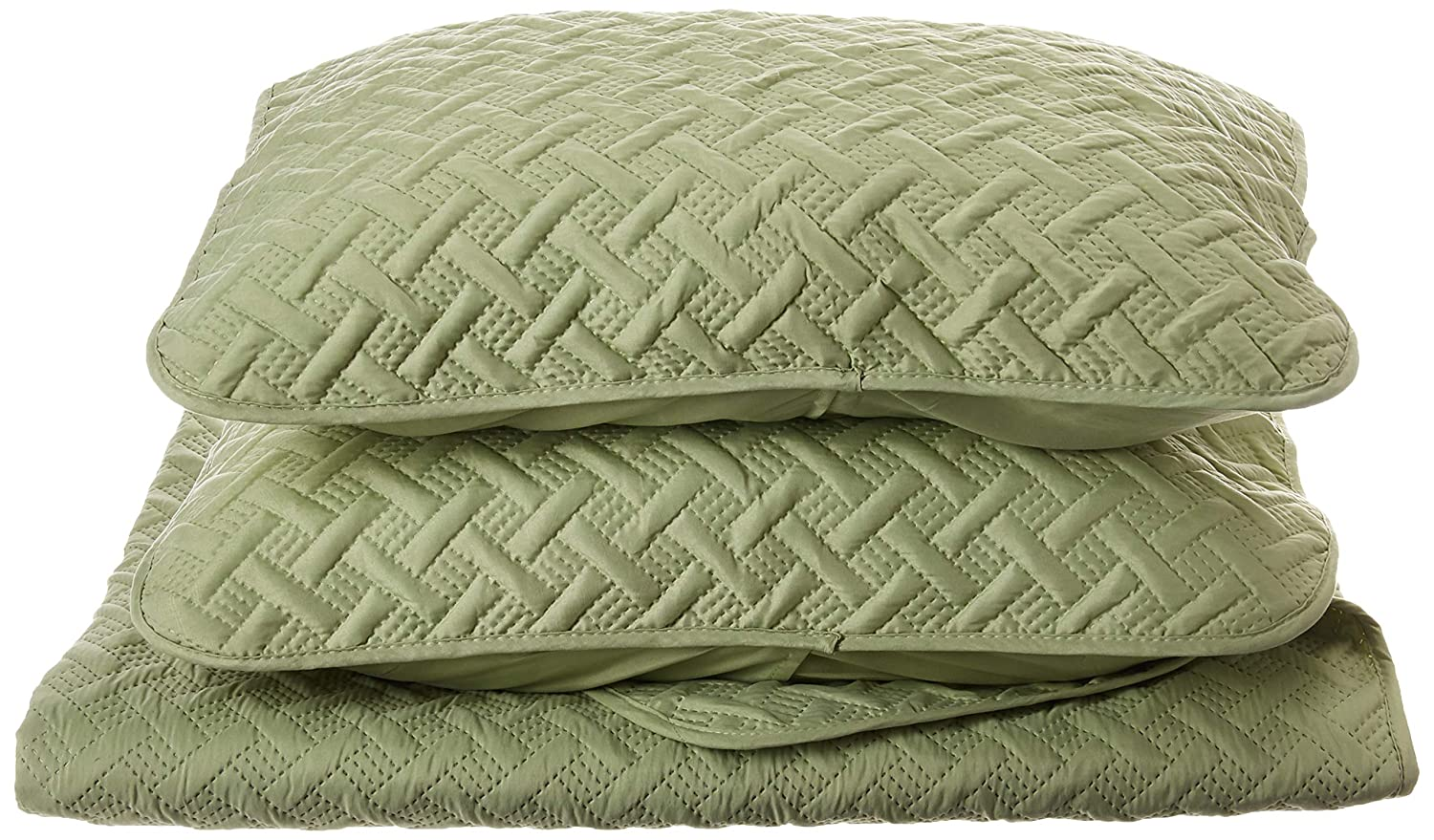 VCNY Home Nina Textured Geometric 3-Piece Solid Quilt Set, Full/Queen, Green