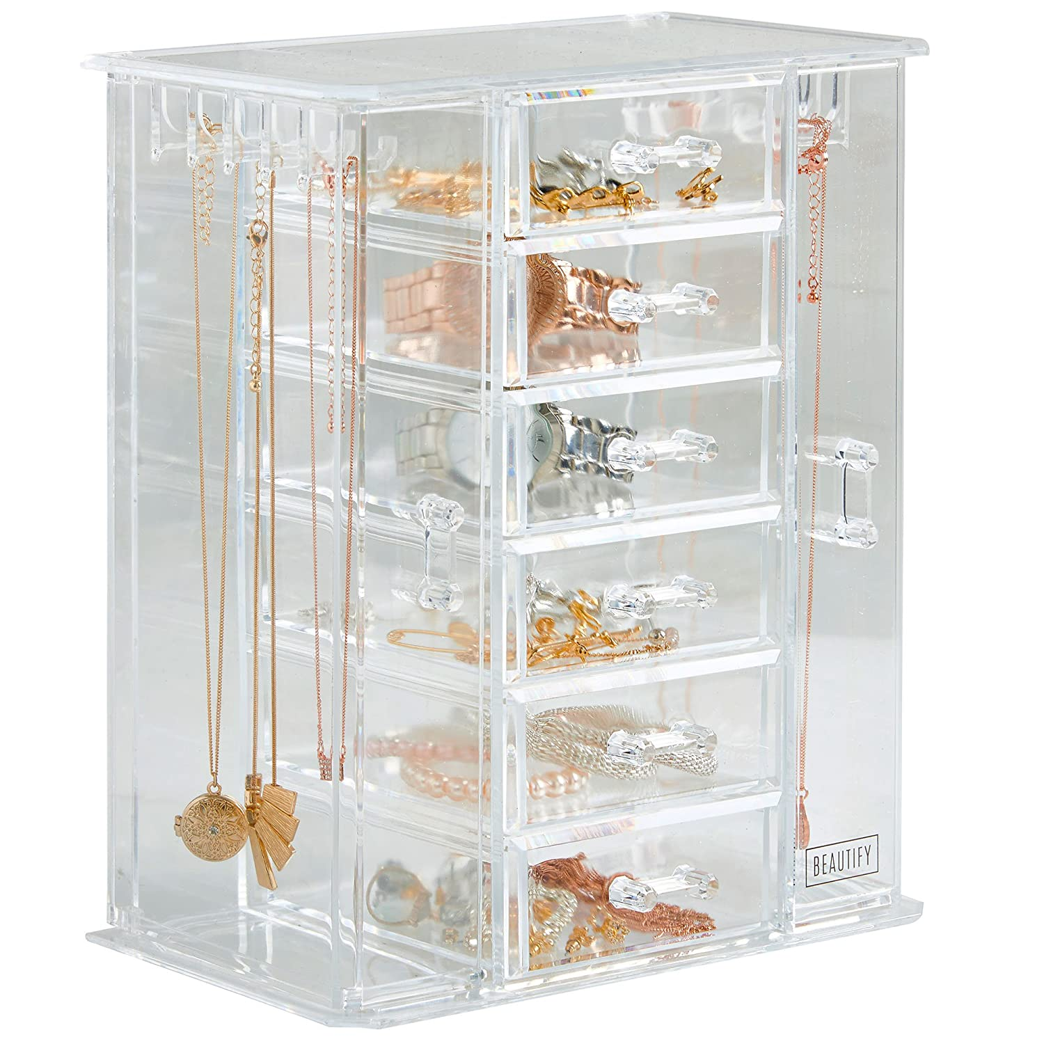 Beautify Acrylic Jewellery Storage Box with 6 Drawers - Jewellery Box & Organiser - Clear Transparent 10/077