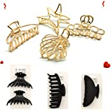 Saana Priti Metal Hair Clips Claw Large 8pcs for Women Thick Hair Claw Clips Wide Open Golden Large Hair Clamp Barrette Acces