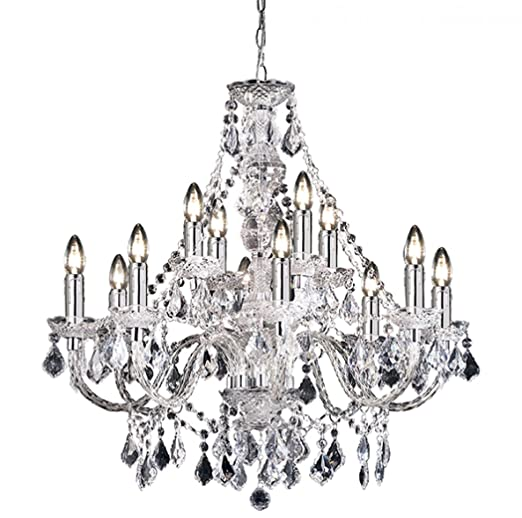 12 light crystal chandelier finish clear acrylic amazon 12 light crystal chandelier finish clear acrylic aloadofball Image collections