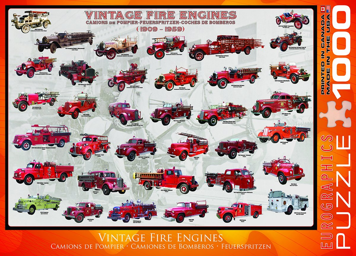Amazon.com: EuroGraphics Vintage Fire Engines 1000 Piece Puzzle: Toys & Games