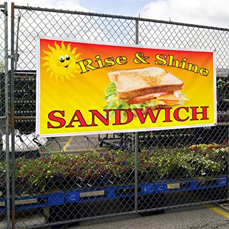 Vinyl Banner Multiple Sizes St.Louis Rib Sandwich Advertising Printing Business Outdoor Weatherproof Industrial Yard Signs Yellow 10 Grommets 60x144Inches