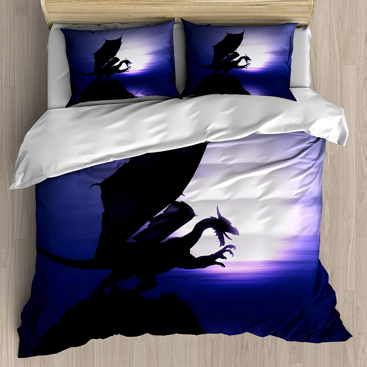 FEIDANNO Dragon Decor Duvet Cover Set Twin Size,3D Render of a Fantasy Dragon on a Cliff Against a Sunset Ocean,Decorative 3 Piece Bedding Set with 2 Pillow Shams.(Blue and Black,Twin)